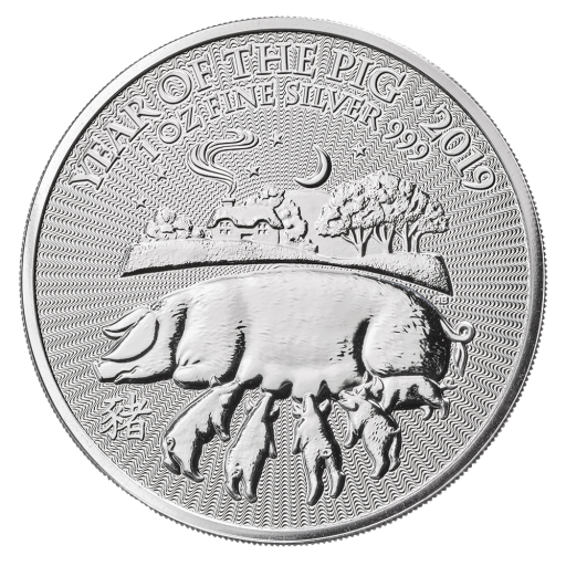 1 oz Lunar UK Year of the Pig Silver Coin (2019)