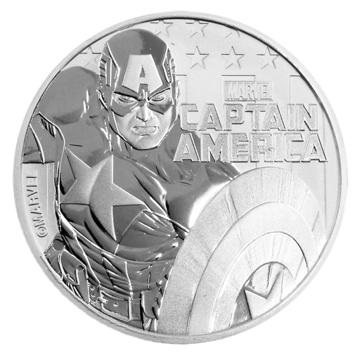 1 oz Moneta d'argento Marvel Captain America (2019)