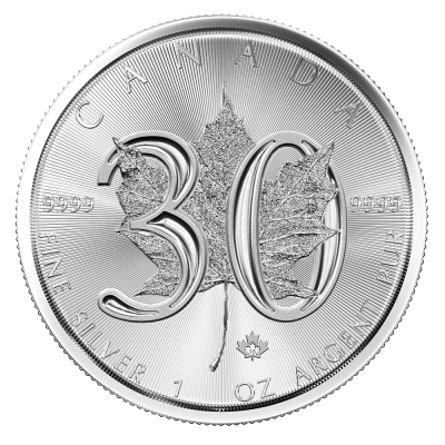 1 oz Silver Maple Leaf 30th Anniversary Coin (2018)