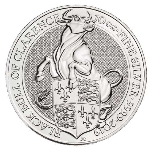 10 oz Queen's Beasts Black Bull d'argent (2019)