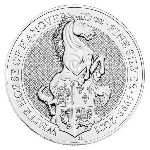 10 oz Queen's Beasts White Horse of Hanover d'argento (2021)