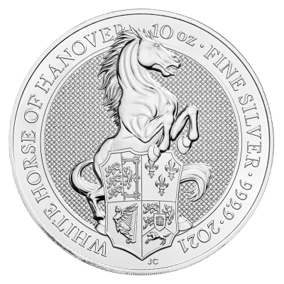 10 oz Queen's Beasts White Horse of Hanover Silbermünze (2021)