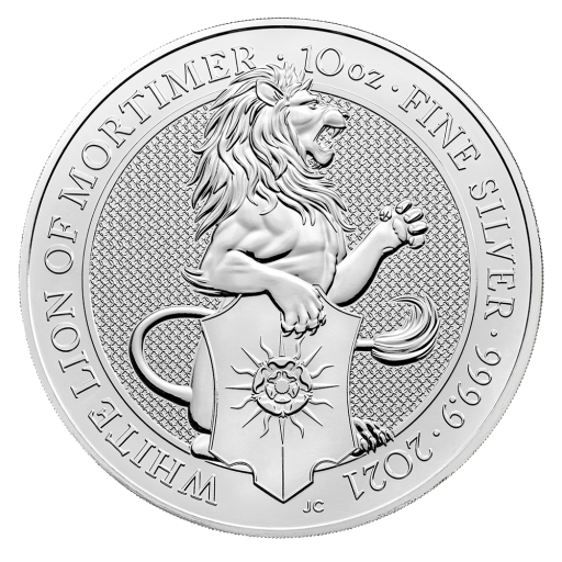 10 oz Queen's Beasts White Lion d'argento (2021)