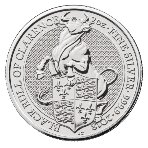 2 oz Queen's Beasts Black Bull d'argent (2018)