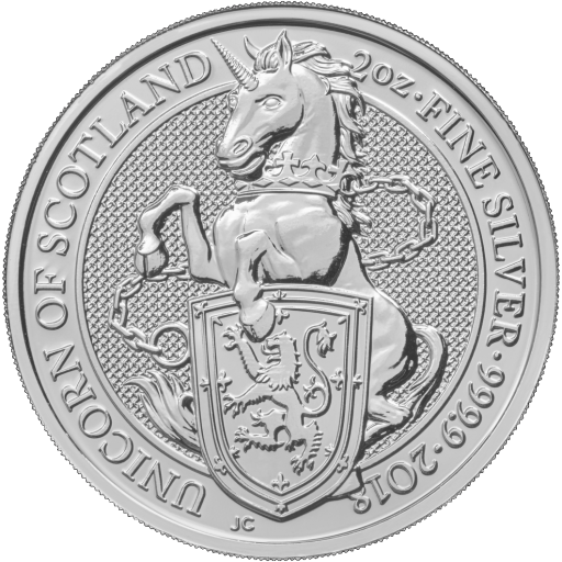 2 oz Queen's Beasts Unicorn Silver Coin (2018)