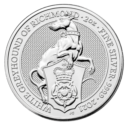 2 oz Queen's Beasts White Greyhound of Richmond d'argento (2021)