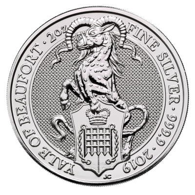 2 oz Queen's Beasts Yale of Beaufort | Argent | 2019