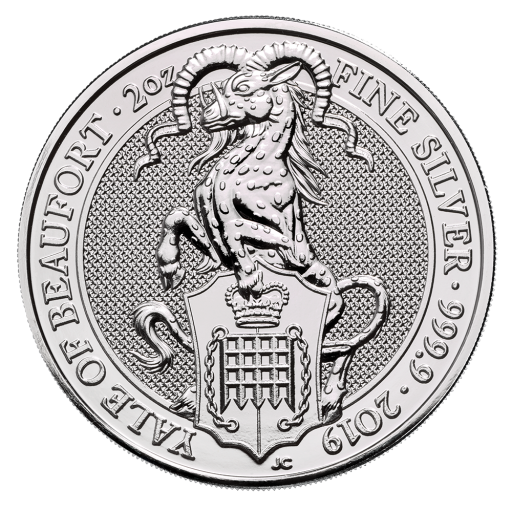 2 oz Queen's Beasts Yale of Beaufort Silver Coin (2019)