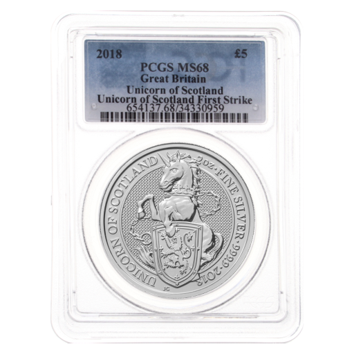 2018 2 oz Queen's Beasts Licorne | Argent | MS-68 PCGS