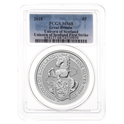 2018 Great Britain 2 oz Silver Queen's Beasts Unicorn MS-68 PCGS