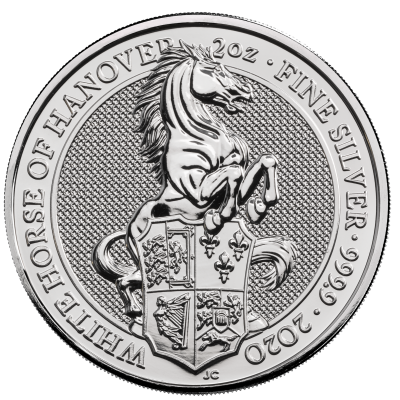 2 oz Queen's Beasts White Horse of Hanover d'argento (2020)